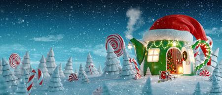 Erstaunliches Feenhaus in rotem Elfenhut, das zu Weihnachten in Form einer Teekanne mit geöffneter Tür und Kamin im Inneren im Zauberwald dekoriert ist. Ungewöhnliche Weihnachtspostkarte der Illustration 3d