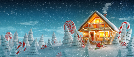 Amazing log house decorated of Christmas lights in magical forest with cartoon spruces and candy canes. Unusual Christmas 3d illustration postcard Stok Fotoğraf - 113031098