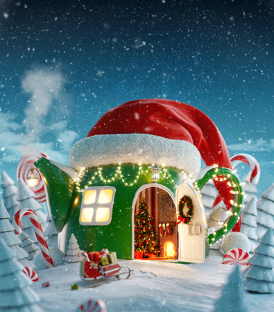 Amazing fairy house in red elfs hat decorated at christmas in shape of teapot with opened door and fireplace inside in magical forest. Unusual christmas 3d illustration postcard