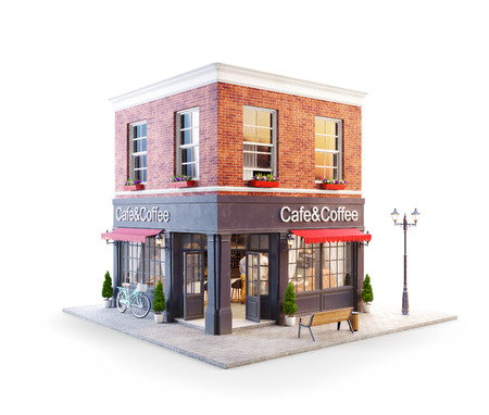 Illustration 3d inhabituelle d'un café confortable, d'un café ou d'un café avec auvent rouge. Isolé Banque d'images