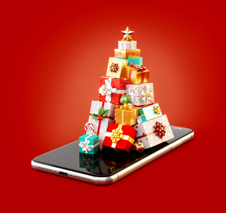 Unusual 3d illustration of stack of gift boxes in shape of christmas tree on smartphone. Christmas smartphone application. Merry Christmas and a Happy New Year concept.