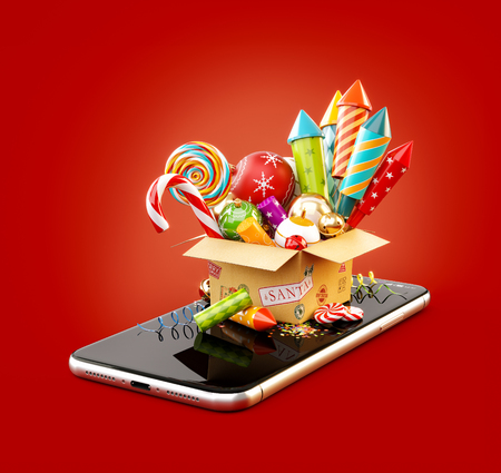 Cardboard box with fireworks, candy cane and christmas baubles on smartphone. Unusual 3d illustration of christmas application. Merry Christmas and a Happy New Year concept. Stock Photo