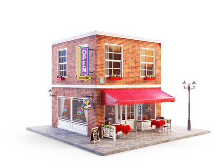 Unusual 3d illustration of a cafe, pub or bar building with red awning, neon signs and outdoor tables Stock Photo