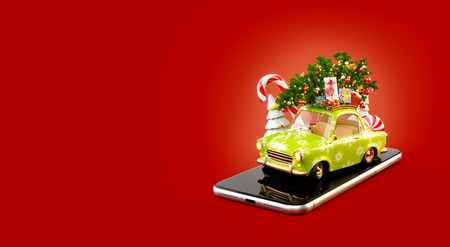 Unusual 3d illustration of a Santas car with gift boxes and christmas tree on the top. Christmas smartphone application. Merry Christmas and a Happy New Year concept.