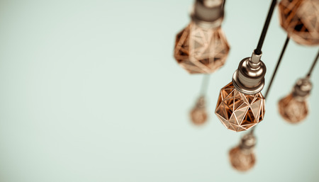 Unusual 3d illustration of hanging stylized low poly light bulbs with golden wire. Conceptual background Stock Photo