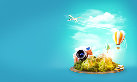 Unusual 3d illustration of a mount with the road around and air balloons above. Travel and vacation concept. Standard-Bild