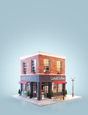 Unusual 3d illustration of a cozy cafe, coffee shop or coffeehouse building with red awning 免版税图像