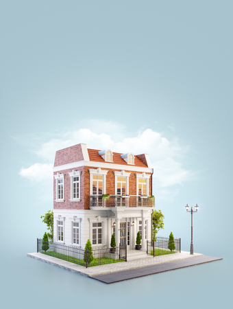 Unusual 3d illustration of a beautiful house with white entrance, lawn and small cute garden at the road in nice neighborhood