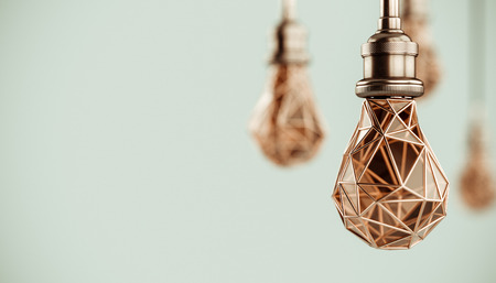 Unusual 3d illustration of hanging stylized low poly light bulbs with golden wire. Conceptual background Stok Fotoğraf