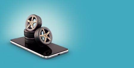 Illustrazione insolita 3d di pneumatici per auto sullo schermo di uno smartphone. Calcolatore delle dimensioni dei pneumatici. Scelta e acquisto di pneumatici online concept