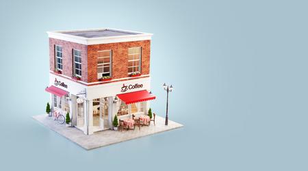 Illustration 3d inhabituelle d'un café confortable, d'un café ou d'un café avec auvent rouge et tables extérieures