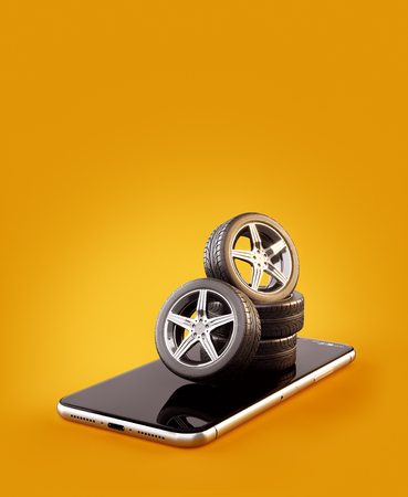 Unusual 3d illustration of car tires on a smartphone screen. Tire Size Calculator. Choosing and buying tires online concept Banco de Imagens