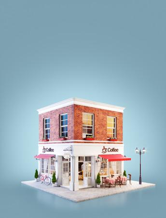 Ungewöhnliche 3D-Illustration eines gemütlichen Café-, Coffeeshop- oder Kaffeehausgebäudes mit roter Markise und Tischen im Freien