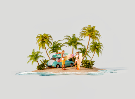 Unusual 3d illustration of a tropical island. Couple of Young surfers with surfboards standin on a beach by retro car. Travel and vacation concept. Reklamní fotografie
