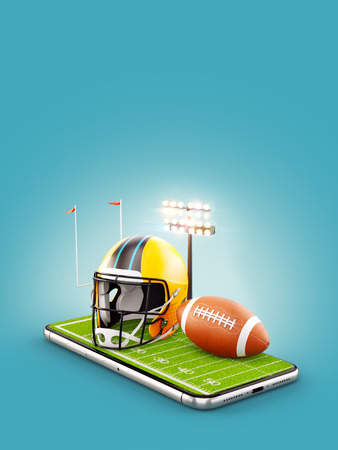 Unusual 3d illustration of an American football field with helmet and ball on a smartphone screen. Watching football and betting online concept