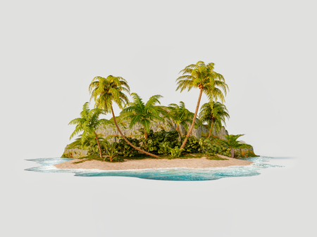 Unusual 3d illustration of a tropical island. Travel and vacation concept. Reklamní fotografie