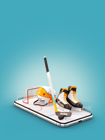 Unusual 3d illustration of hockey equipment on an ice rink on a smartphone screen. Watching hockey and betting online concept