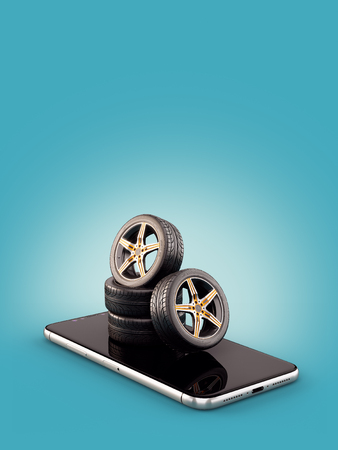 Unusual 3d illustration of car tires on a smartphone screen. Tire Size Calculator. Choosing and buying tires online concept Reklamní fotografie