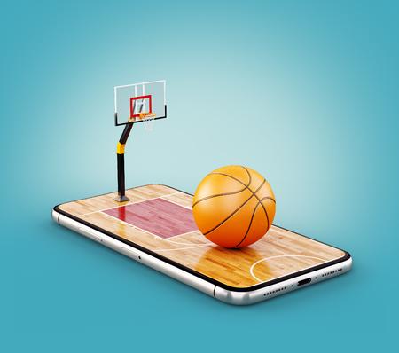 Illustration 3d inhabituelle d'un ballon de basket sur le terrain sur un écran de smartphone. Regarder le basket-ball et le concept de paris en ligne