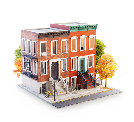 Unusual 3d illustration of Brownstone buildings in Neighborhood sidewalk in autumn New York. Isolated