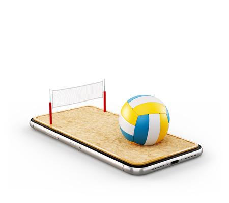 Illustration 3d inhabituelle d'un ballon de volley-ball et sur le terrain sur un écran de smartphone. Regarder le beach-volley et parier sur le concept en ligne. Isolé