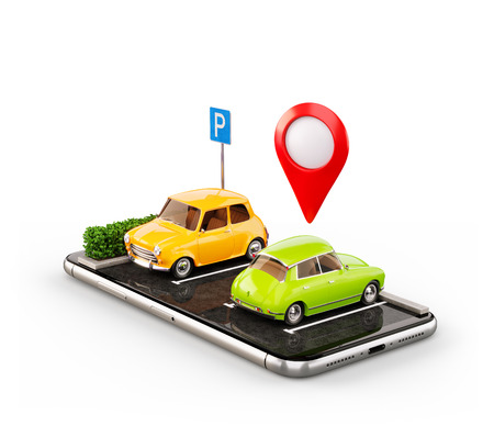 Unusual 3d illustration os smartphone application for online searching free parking place on the map. GPS Navigation. Parking and car sharing concept. Isolated