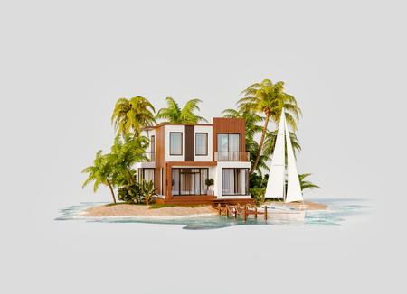 Ungewöhnliche 3D-Darstellung einer tropischen Insel. Exotische Luxusvilla und Yacht am Pier. Moderne Architektur. Reise- und Urlaubskonzept.
