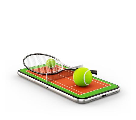Illustration 3d inhabituelle d'une balle de tennis et d'une raquette sur un court sur un écran de smartphone. Regarder le tennis et le concept de paris en ligne. Isolé Banque d'images