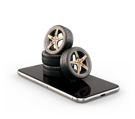 Unusual 3d illustration of car tires on a smartphone screen. Tire Size Calculator. Choosing and buying tires online concept. Isolated Stockfoto
