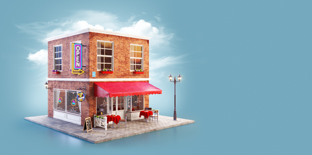 Unusual 3d illustration of a cafe, pub or bar building with red awning, neon signs and outdoor tables Reklamní fotografie