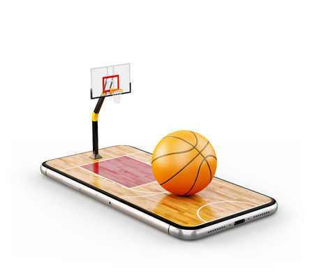 Unusual 3d illustration of a basketball ball on court on a smartphone screen. Watching basketball and betting online concept. Isolated