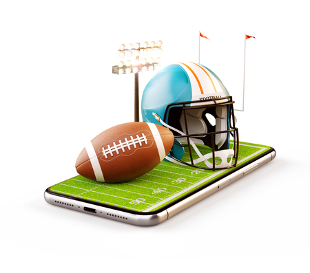 Unusual 3d illustration of an American football field with helmet and ball on a smartphone screen. Watching football and betting online concept. Isolated Reklamní fotografie