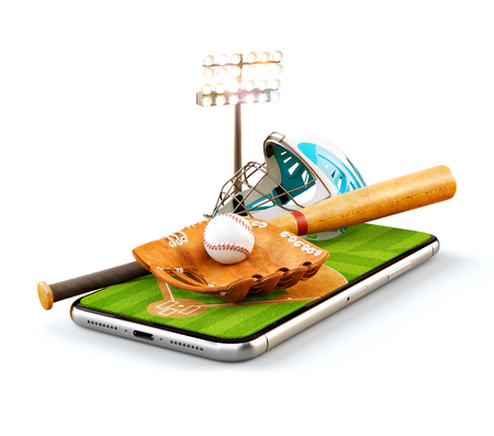 Unusual 3d illustration of a baseball stadium with bat, helmet, baseball glove and ball on a smartphone screen. Watching baseball and betting online concept. Isolated