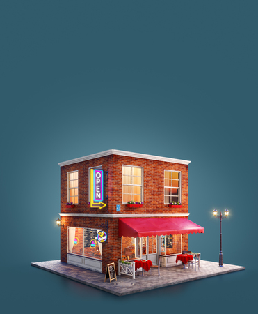 Unusual 3d illustration of a night club, cafe, pub or bar building with red awning, neon signs and outdoor tables