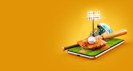 Unusual 3d illustration of a baseball stadium with bat, helmet, baseball glove and ball on a smartphone screen. Watching baseball and betting online concept Reklamní fotografie