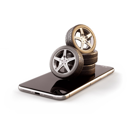 Unusual 3d illustration of car tires on a smartphone screen. Tire Size Calculator. Choosing and buying tires online concept. Isolated Stock Photo