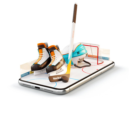 Unusual 3d illustration of hockey equipment on an ice rink on a smartphone screen. Watching hockey and betting online concept. Isolated