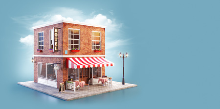 Unusual 3d illustration of a cozy cafe, coffee shop or coffeehouse building with striped awning and outdoor tables Stock Photo