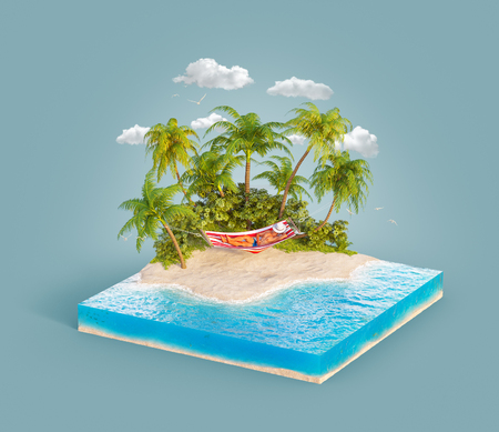 Unusual 3d illustration of a tropical island. Young man relaxing in a hammock between two palms on a beach. Travel and vacation concept.