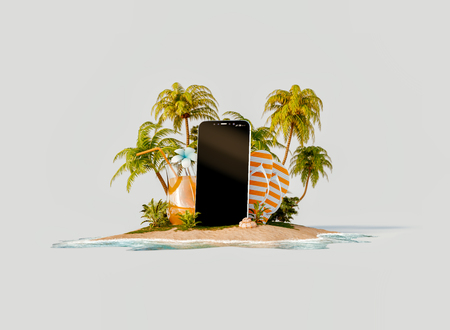 Unusual 3d illustration of a tropical island. Smartphone with blank screen on the beach. Smartphone application. Travel and vacation concept. Reklamní fotografie
