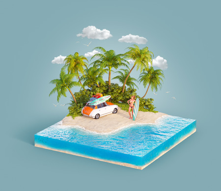 Unusual 3d illustration of a tropical island. Young beauty surfer girl with a surfboard standin on a beach by retro car. Travel and vacation concept.