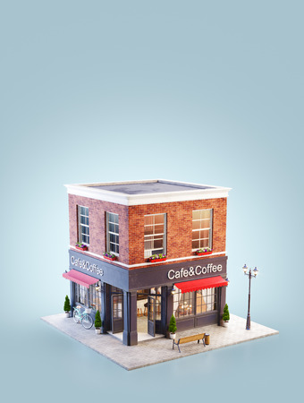 Unusual 3d illustration of a cozy cafe, coffee shop or coffeehouse building with red awning Reklamní fotografie