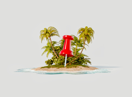 Unusual 3d illustration of a tropical island. Red push pin on a beach. Travel and vacation concept.