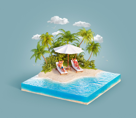 Unusual 3d illustration of a tropical island. Two young people lying on deck chairs on beautiful beach. Travel and vacation concept.