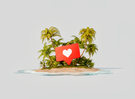 Unusual 3d illustration of a tropical island. Like icon on a beach. Travel, vacation and social media concept. Reklamní fotografie