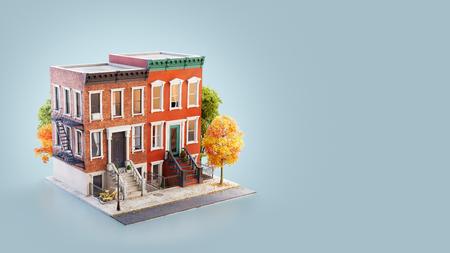 Unusual 3d illustration of Brownstone buildings in Neighborhood sidewalk in autumn New York.