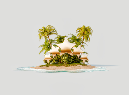 Unusual 3d illustration of a tropical island. Five golden stars over tropical island. Travel and vacation concept. Reklamní fotografie
