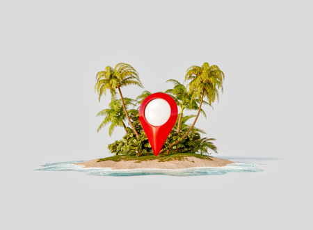 Unusual 3d illustration of a tropical island. Red map pointer on a beach. Smartphone application. Travel and vacation concept.