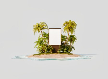 Unusual 3d illustration of a tropical island. Blank billboard on a beach. Travel and vacation concept.