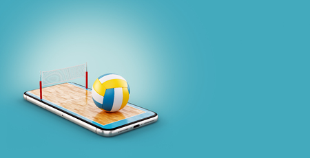 Unusual 3d illustration of a volleyball ball and on court on a smartphone screen. Watching volleyball and betting online concept